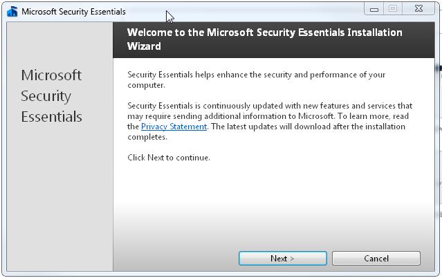 microsoft security essentials service