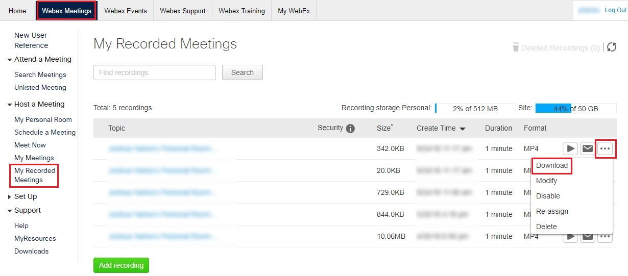 how to download webex recording from url
