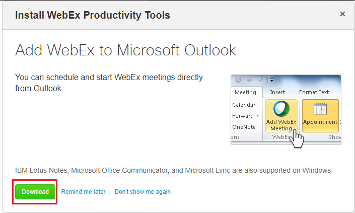 Public Knowledge - How do I schedule a WebEx meeting in Microsoft