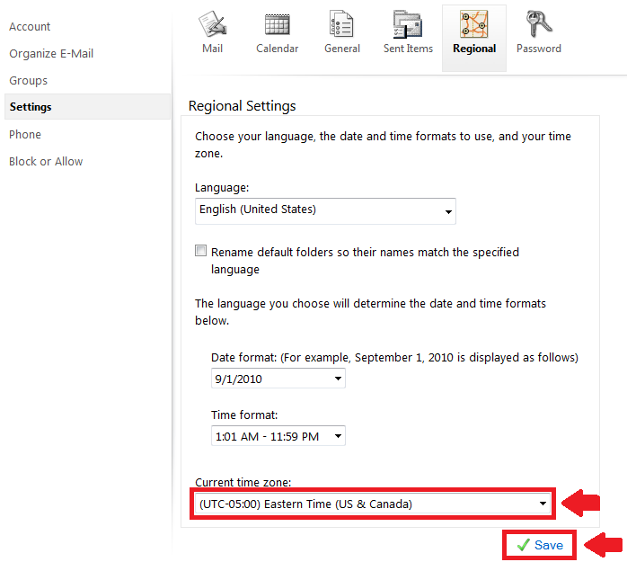 Public Knowledge - How do I change the time zone in Outlook